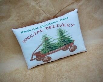 Vintage red wagon pillow | Christmas decor | Christmas tree pillow | Gift for him | Stocking stuffer | Christmas decoration | Xmas red wagon