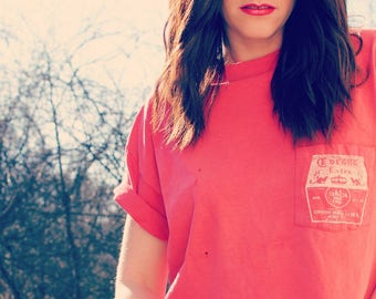 Vintage Cropped Corona Beer Shirt- Red