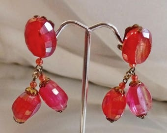 SALE Vintage Faceted Hot Pink Earrings. Made in Austria.  50s AB Coated Two Tone Pink Earrings.