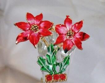 SALE Vintage Handpainted Rhinestone Poinsettia Brooch.  BJ Beatrix.  Vintage Christmas Poinsettia Flowers Pin.