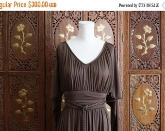ON SALE Vintage 1970s Chocolate Brown Grecian - Style Maxi Dress