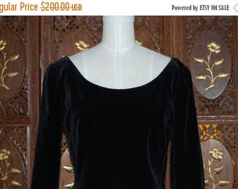 ON SALE Vintage 1950s Jet Black Velveteen LBD with Ballerina Neckline