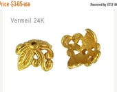 CIJ SALE Set of 2 Bali 24kt Gold Vermeil Leaf & Vine Bead Caps, 5mm x 9mm, artisan-made supplies, bridal