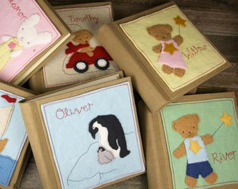 Linen Archival Photo Albums with Hand Embroidered Wool Felt Applique Patch: Personalized or Plain by Kata Golda