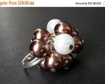SUMMER SALE Cocktail Ring - Cluster Pearl Ring in Mauve Maroon and White. Handmade Jewelry.