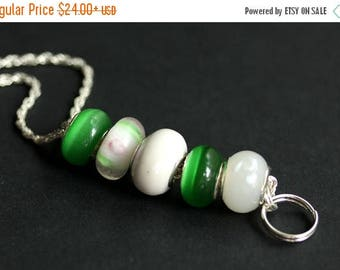 BACK to SCHOOL SALE Badge Holder. White and Green Badge Lanyard. Beaded Lanyard. Id Lanyard. Green and White Badge Necklace. Handmade Lampwo