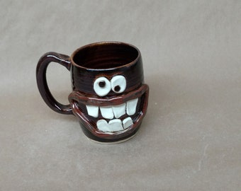 Angry Morning Coffee Cup. Large Ceramic Beer Stein. Cranky Face Mug. Big Pottery Cups and Mugs in Dark Chocolate Black. Goofy Mans Tankard.
