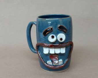 NEW Funny Dieters Face Mug. Keto Diet Coffee Cup Mugs. Nelson Studio Stoneware Pottery. Big 28 Handmade Ug Chug Mug. Blue Clay Pottery Clay