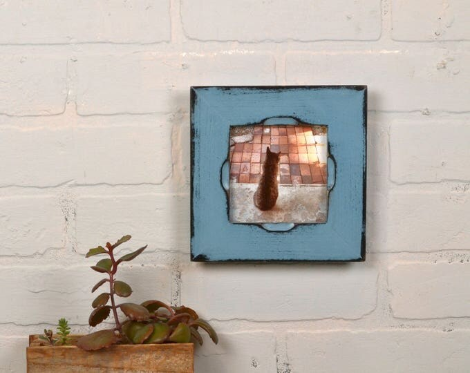 """4x4"""" Square Picture Frame Super Vintage Black under Smokey Finish in Cortez Style - IN STOCK - Same Day Shipping - Rustic 4 x 4 Photo Frame"""