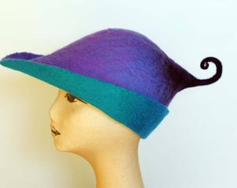 Felted Hat, Curly Pixie Hat, Purple Turquoise Felt Hat