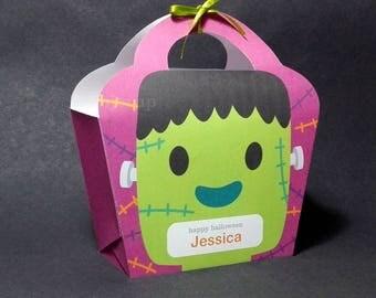 Kawaii Cute Halloween Frankie Giftbag Spooky Monster Treat basket Packaging Editable Printable PDF