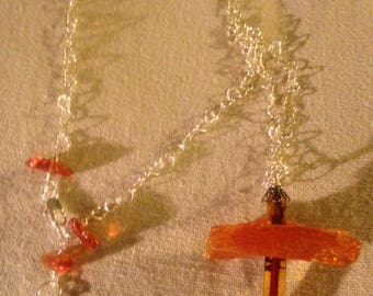 Handmade Genuine Baltic Amber Sterling Silver Cross Necklace