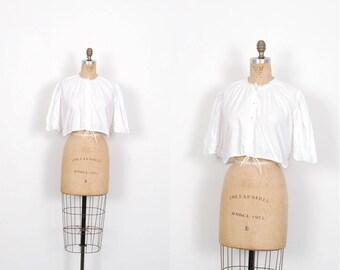 Vintage 1970s Top / 70s Cotton Cropped Peasant Top / White ( S M L )
