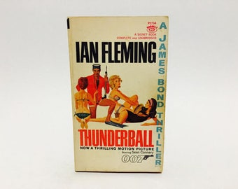 Vintage Pop Culture Book Thunderball by Ian Fleming 1965 Movie Tie-In Edition Paperback