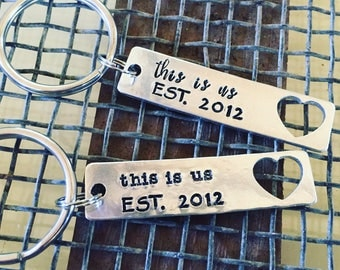 Keychain for her-keychain for him- anniversary gift- wedding gift- 10th anniversary- this is us- wedding date-