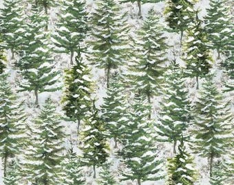 AFTER The Snow Fabric White Pine Trees Fabric 72254-171 Bob Fair