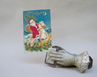 Vintage Santa Red Velvet Post Card . Germany  . Santa On A Horse. Red Velvet Coat Old Photo Card