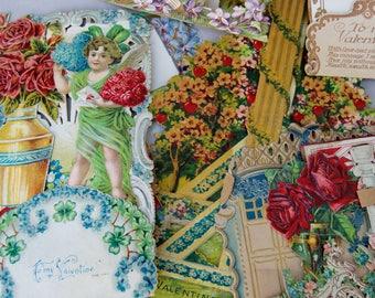 Antique Victorian Valentine  . Scrap Lot . Repurpose Lot . Some German . Paper .
