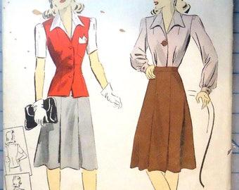 DuBarry #5229 - 1940s Sewing Pattern - Blouse, Skirt & Sleeveless Jacket - 1941