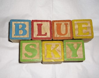 BLUE SKY large Vintage Wooden Children's Letter Blocks