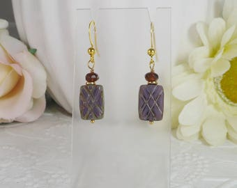 Earrings Purple Flat Rectangle Two Sided Gifts for Her