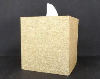 Gold Glittered Wood Tissue Box Cover