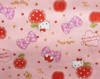 Hello Kitty Fabric, Japanese Cotton Print / Pink Oxford Fabric, 1 Yard, Kawaii Sanrio Character Fabric, Hello Kitty, Bow & Red Apple, jf18