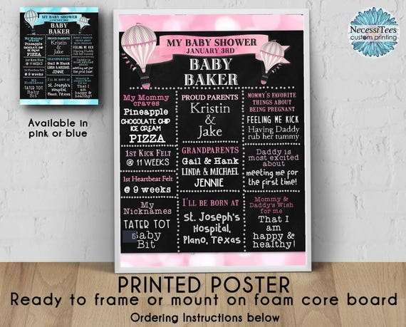 PRINTED Baby Shower Poster, 11\