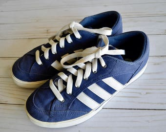 Vintage Adidas Women's Canvas Sneakers Blue Canvas White Stripes Size 7.5 US