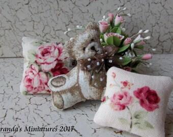 ooak Dollhouse Miniature Cottage Chic Teddy Bear pillow set w/ roses