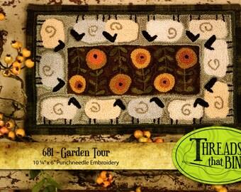 Sheep Garden Tour 681 Punchneedle Punch Needle Threads That Bind Pattern