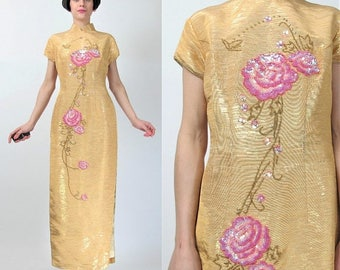 25% off Summer SALE Asian Sequin Dress Vintage Floral Chinese Dress Metallic Gold Brocade Traditional Cheongsam Evening Dress Mandarin Colla