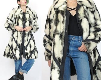 25% off Summer SALE 1970s Faux Fur Coat Black and White Coat Suede Leather Trim Spy Coat Geometric Panels Cream Striped Fur Winter Coat Penn