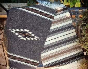 """Vintage 11"""" x 18"""" handwoven wool place mat Southwestern decor Chimayo placemats woven table runner"""