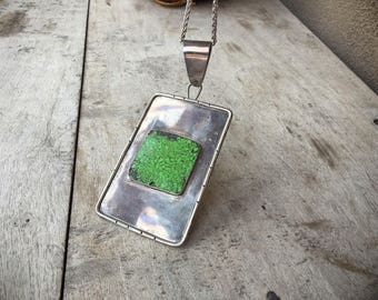 Large German Silver Pendant Gaspeite Jewelry, Hippie Era Pendant with Green Stone