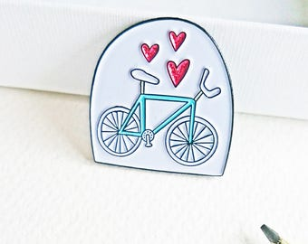 Bicycle Lover Enamel Pin Badge Pink Glitter Hearts Bike Pin