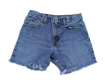 Vintage Levi's 555 Guy's Fit Denim Cutoffs Size 6 fits like 28 Redone Shorts High Rise Levis USA