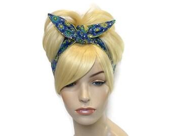 Headbands for Women, Wired Headband, Blue & Green Floral Headband, Reversible Fabric Headband, Wide Headband, Polka Dot Headband