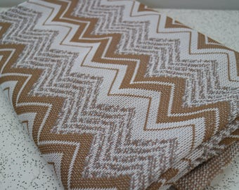 chevron stripes in grey and beige...vintage knit fabric yardage