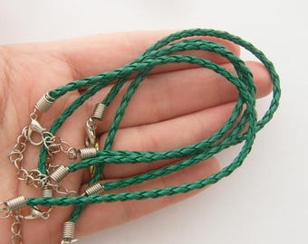 4 Forest green leather bracelets 24cm x 3mm