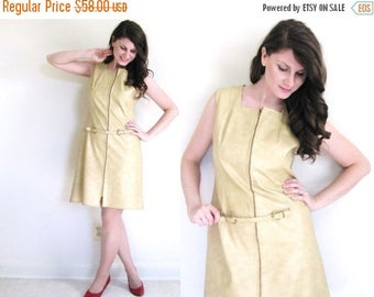 ON SALE 60s Faux Leather Dress / 60 gogo Dress / 1960s Pleather Dress
