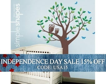 Independence Day Sale - Tree with Two Owls and Butterflies Decal Set - Nursery Vinyl Wall Decal