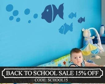 Fish Family - Children's Vinyl Wall Sticker