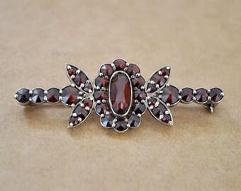 vintage find  Victorian silver gold wash garnet flower pin, Bohemian Garnet Ring, January Birthstone, small red garnet brooch pin