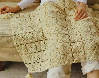 Digital Download PDF Crochet Pattern - Motif Afghan Blanket Coverlet  CHARTED