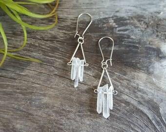 Quartz Crystal Earrings Mineral Earrings Clear Earrings Natural Stone Earrings Raw Quartz Earrings Anthropologie Inspired Earrings Dynamo