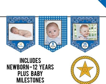 INSTANT DOWNLOAD Country-Western Party (Blue) - DIY printable photo banner kit - Includes Newborn through 12 Years, Plus Baby Milestones