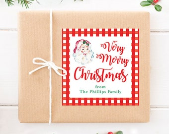 Personalized Christmas Gift Stickers - Watercolor Vintage Santa - Set of 12