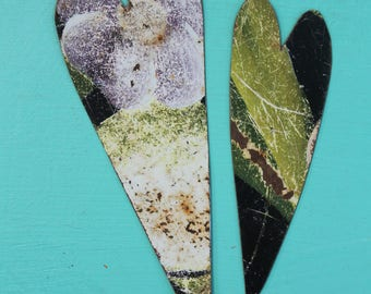 2 hand made colorful rusty metal hearts for mixed media, altered art, collage, decor, steampunk