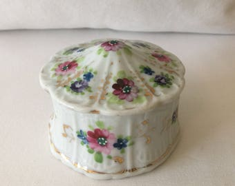 Vintage Hand-Painted Covered Jewelry Dish